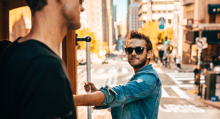 Zedd rides trolley in San Francisco, California