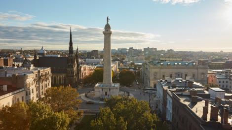 Washington Monument in the Mount Vernon neighborhood of Baltimore, Maryland