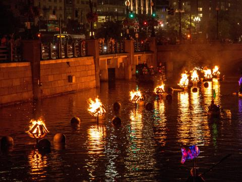 The blazing scene at WaterFire