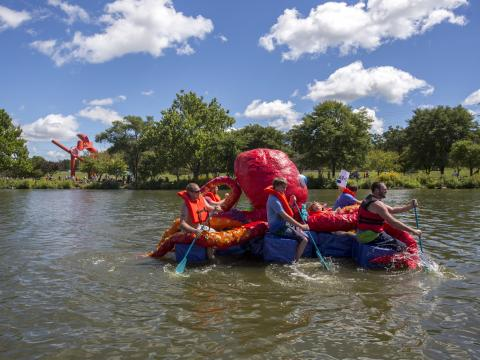 Paddling an octopus during Rock River Anything That Floats Race