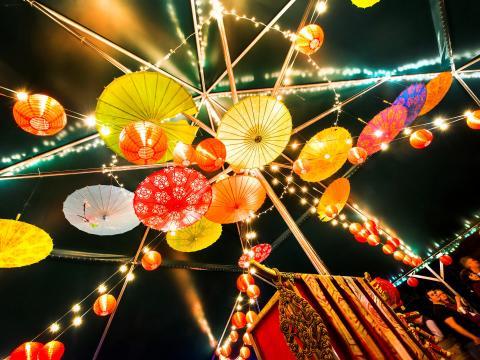 Lanterns illuminating Little Rock's Wildwood Park for the Arts