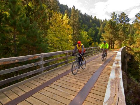 Cyclists cross a bridge through the verdant forest during Mickelson Trail Trek