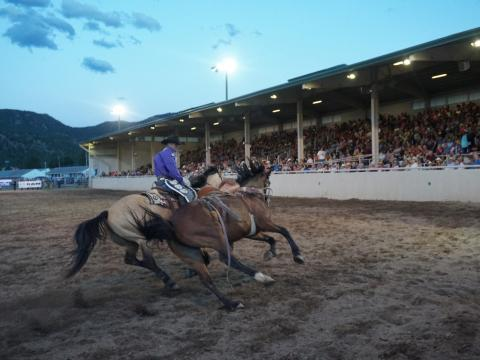 Fast-paced cowboy action at the week-long Rooftop Rodeo in Estes Park