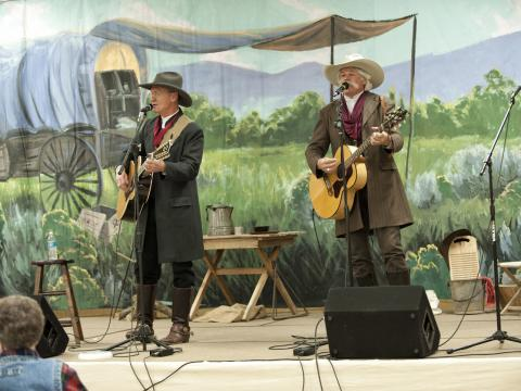 Two singers perform at the Cache Valley Cowboy Rendezvous