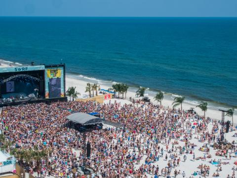 Watching live bands on the beach during the Hangout Music Festival in Gulf Shores, Alabama