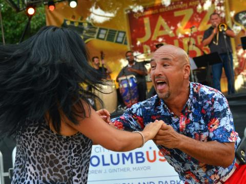Dancing to live music during the Jazz & Rib Fest in Columbus, Ohio