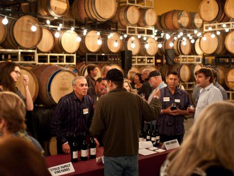 Sampling wines during the Garagiste Festival celebrating small winemakers in Paso Robles, California