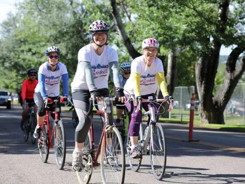 Cyclists participating in the annual Spinderella ride in Pocatello, Idaho