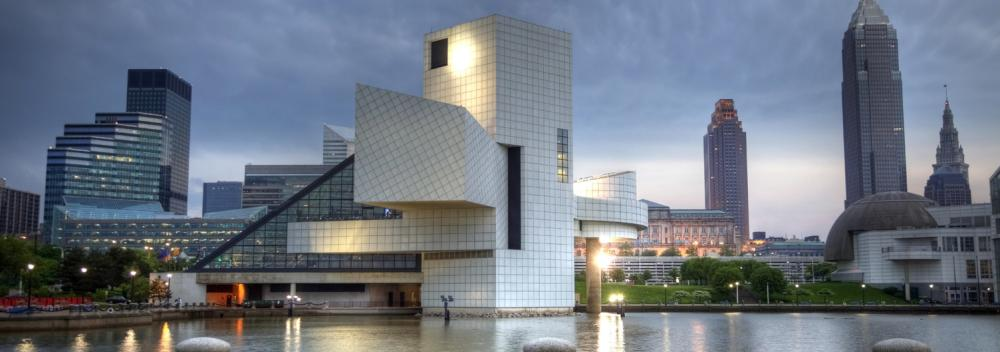 The Rock & Roll Hall of Fame across the waters of Lake Erie in Cleveland, Ohio