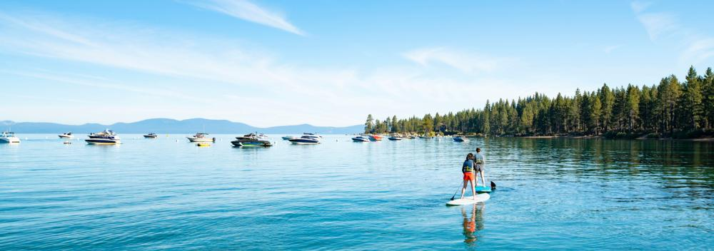 Stand-up paddle boarding on South Lake Tahoe, California