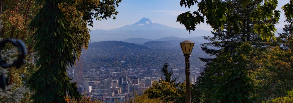 View of Mount Hood over the Portland, Oregon, skyline